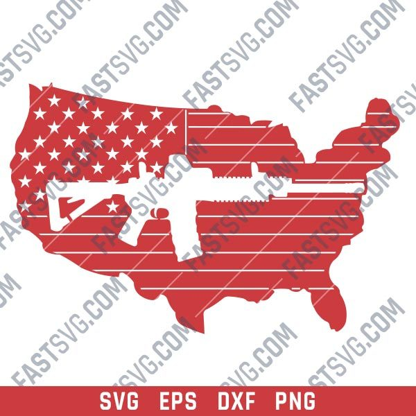 American flag vector with a Gun Design file - SVG DXF EPS PNG