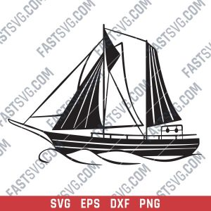 Sailboat Modern Steel Wall Art Vector Design file - SVG DXF EPS AI CDR