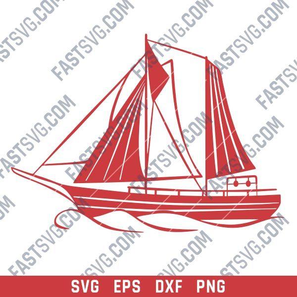Sailboat Modern Steel Wall Art Vector Design file - SVG DXF EPS AI CDR