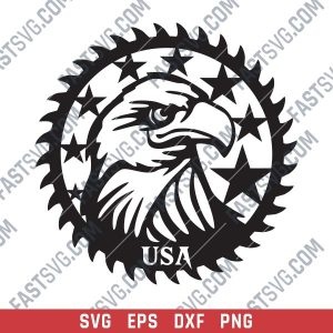Patriotic Saw Blade Scroll Saw USA Flag American Vector Design files - SVG DXF EPS PNG
