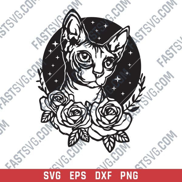 Cat with flowers and stars Design file - SVG DXF EPS PNG