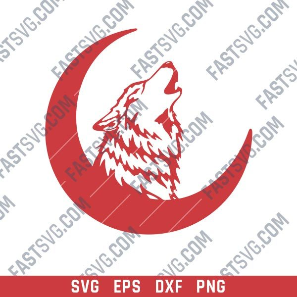 Wolf Crescent Moon Art Vector Design file - SVG DXF EPS AI CDR