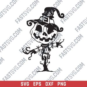Pumpkin Scarecrow Art Vector Design file - SVG DXF EPS AI CDR