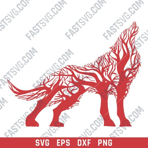 Wolf with tree Vector Design file - SVG DXF EPS PNG