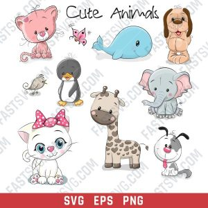Cute Animals Vector Design files - SVG EPS PNG S053
