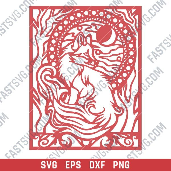 Fox and trees with farewell moon within the nature art Vector Design files - SVG DXF EPS AI CDR
