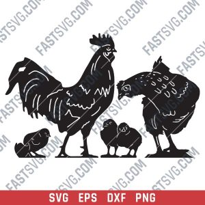Chicken set vector design files - SVG DXF EPS PNG