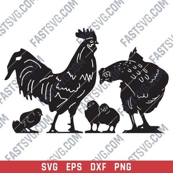 Chicken set vector design files - SVG DXF EPS PNG