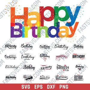 Happy birthday Vector Design file - SVG EPS PNG