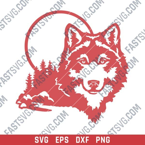 Moonlight Wolf Wall Art Vector Design file - SVG DXF EPS PNG