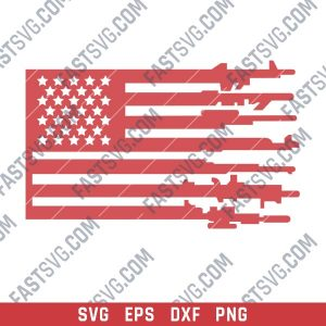 Patriotic USA Flag American Vector Design files - SVG DXF EPS PNG P226