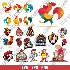 Rooster set design files - SVG EPS PNG