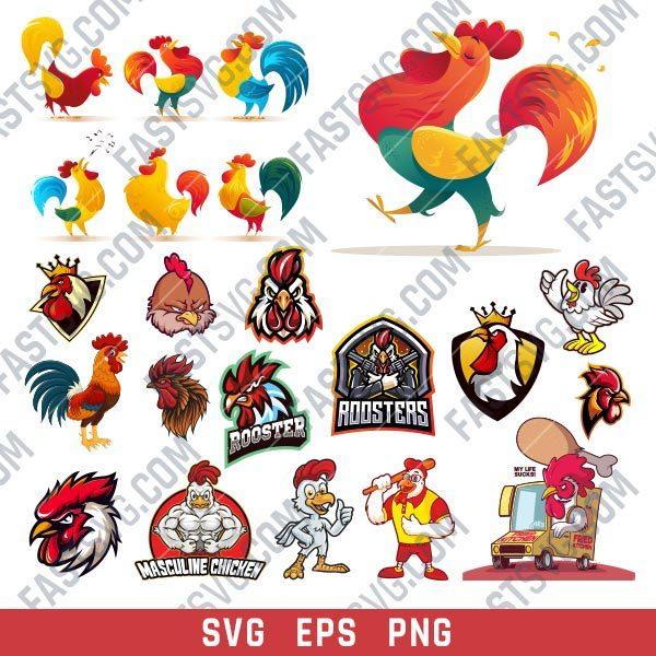 Rooster set design files - SVG EPS PNG