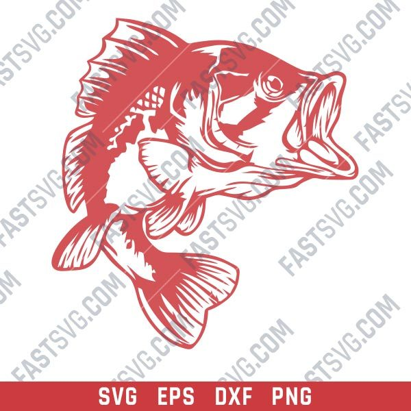 Bass Fish Facing Right design files – SVG DXF EPS PNG