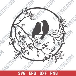Birds on a branch - SVG DXF EPS PNG