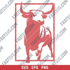 Bull panel design files – SVG DXF EPS PNG