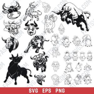 Bull set design files – SVG EPS PNG