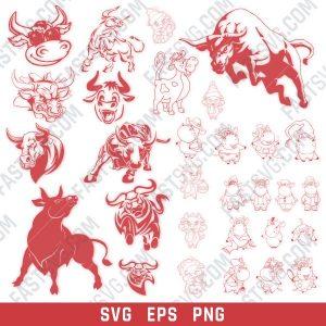 Bull set design files – SVG EPS PNG