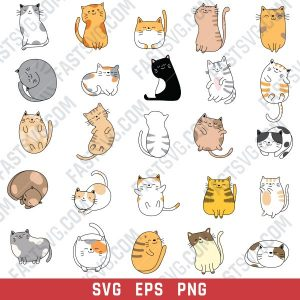 Cute cats set vector design files - SVG EPS PNG