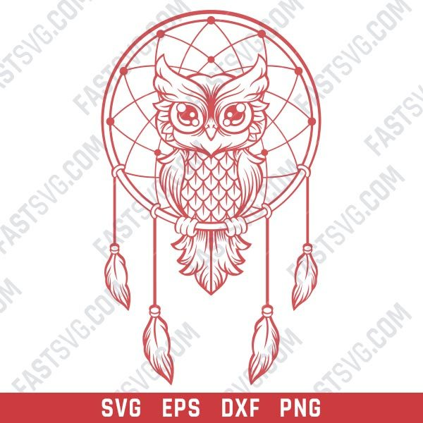 Owl dream catcher design files - EPS PNG SVG DXF