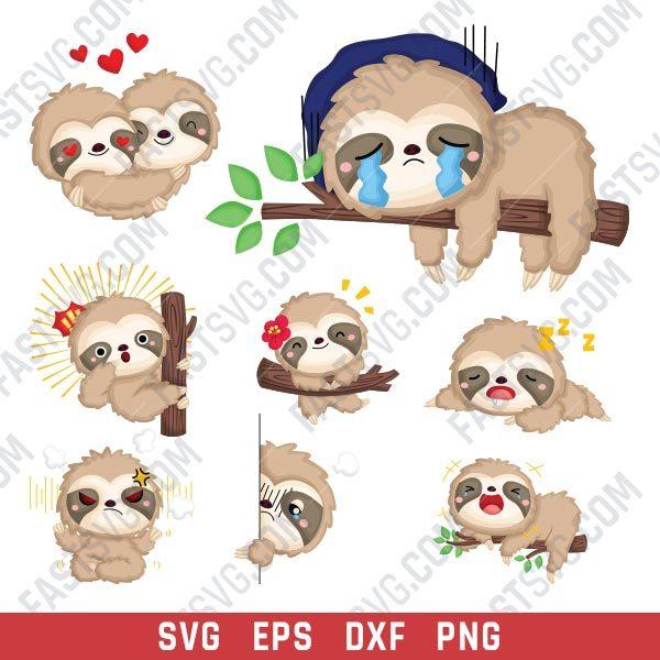 Sloths set design files – SVG DXF EPS PNG