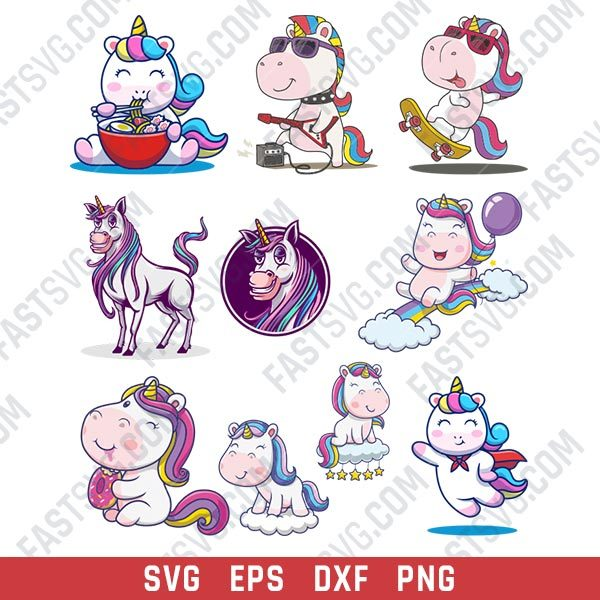 Unicorn set design files - SVG DXF EPS PNG