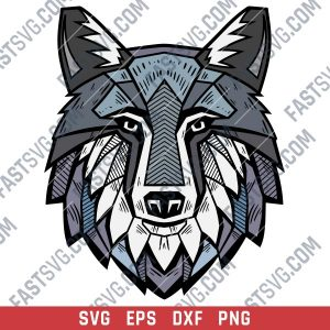 Wolf face design files - SVG DXF EPS PNG