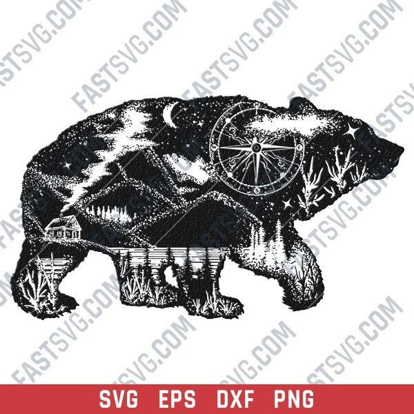 Native American Bear vector design files - DXF SVG EPS PNG