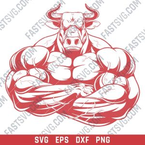 Angry bull bodybuilding muscle design files design files – SVG DXF EPS PNG