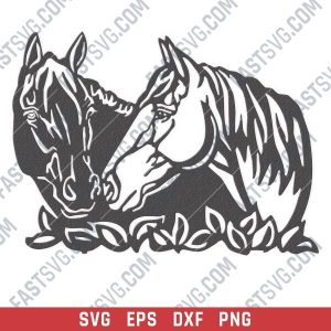Horses wall art vector design files - SVG DXF EPS PNG