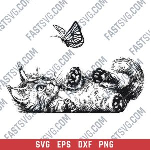 Cute Cat with butterfly vector design files - DXF SVG EPS PNG