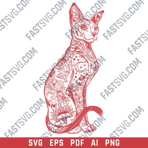 Cute Cat traditional vector design files - DXF SVG EPS PNG
