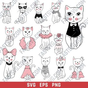 Cute cats set vector design files - SVG EPS PNG - P071