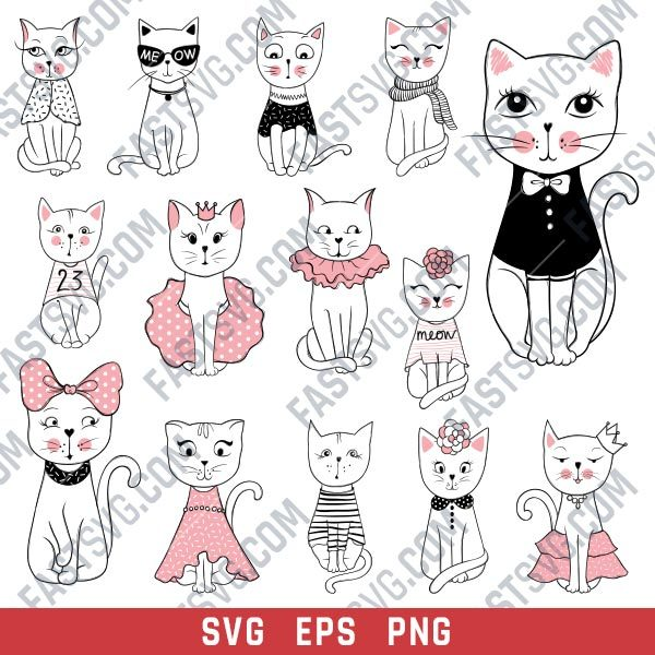 Cute cats set vector design files - SVG EPS PNG - P071