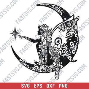 Fairy And Moon Mandala vector design files - DXF SVG EPS PNG
