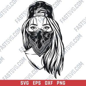 Gangster girl with skull mask design files - SVG DXF EPS PNG