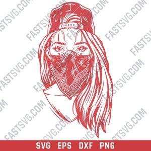 Gangster girl with skull mask design files design files - SVG DXF EPS PNG