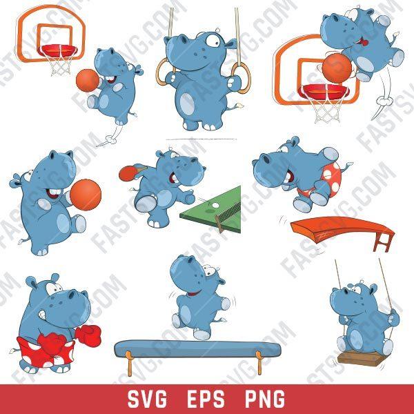 Hippo boxer set design files - SVG EPS PNG