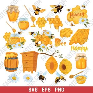 Honey bee set vector design files - SVG EPS PNG - P087