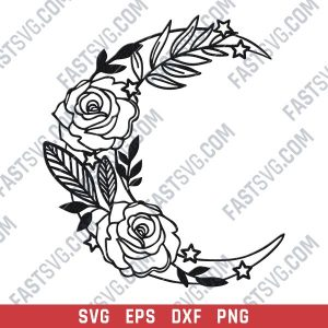 Flowers on the Moon vector design files - DXF SVG EPS PNG