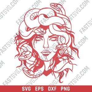 Medusa Greek Mythology vector design files - DXF SVG EPS PNG