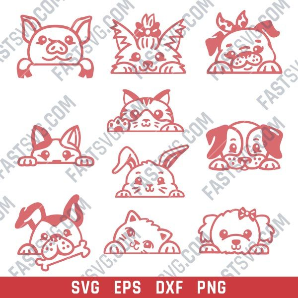 Pet animal faces vector design files - DXF SVG EPS PNG - P074