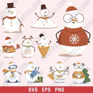 Snowmen vector design files - SVG EPS PNG