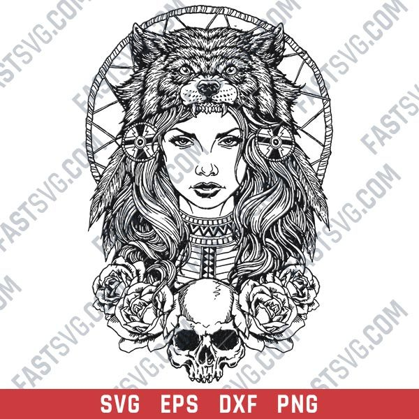 Tribal indian woman wolf design files – SVG DXF EPS PNG