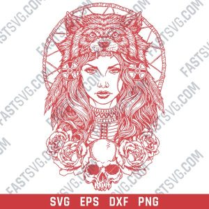 Tribal indian woman wolf design files design files – SVG DXF EPS PNG