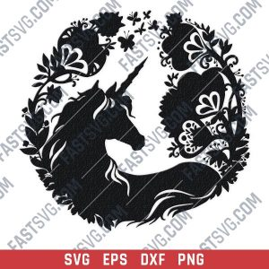 Unicorn with galaxy flowers vector design files - DXF SVG EPS PNG