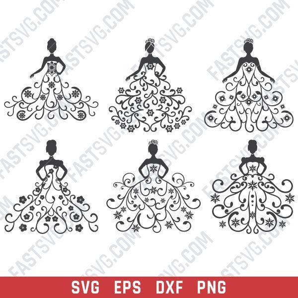 Wedding dress design files - DXF SVG EPS PNG