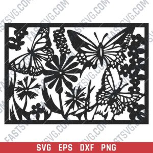 Butterfly flowers wall decor design files - SVG DXF EPS PNG