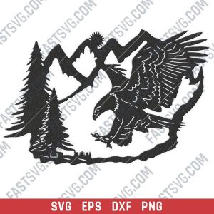 Eagle and pine tree vector design files - SVG DXF EPS PNG