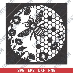 Honeycomb wall decor design files - SVG DXF EPS PNG